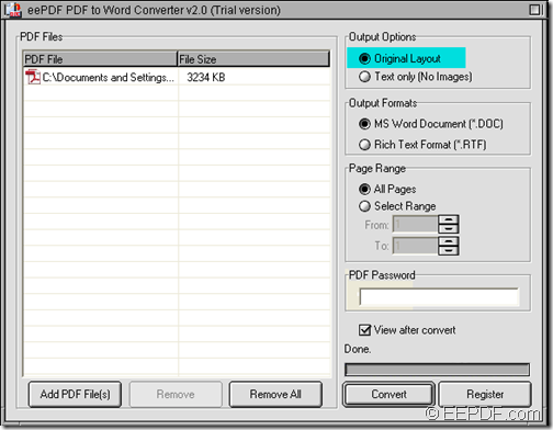 copy contents from PDF to Word with EEPDF PDF to Word Converter